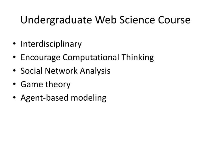 Undergraduate Web Science Course