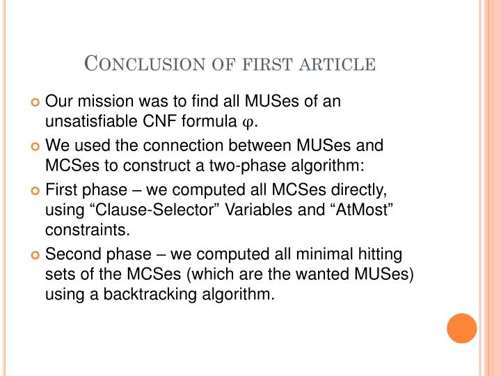 Conclusion of first article