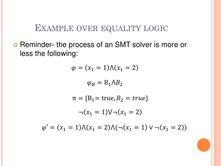 Example over equality logic