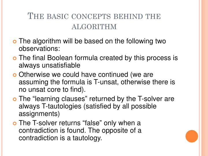 The basic concepts behind the algorithm