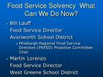 food service solvency what can we do now
