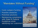 mandates without funding