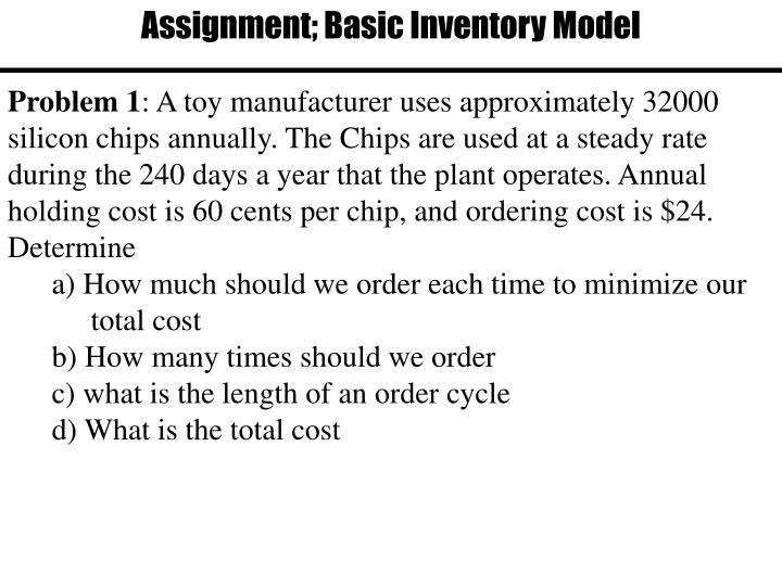 Assignment; Basic Inventory Model