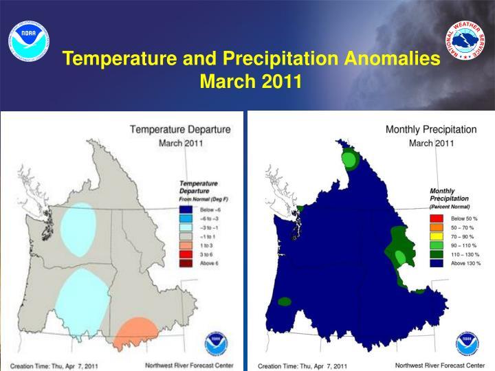 Temperature and Precipitation Anomalies March 2011