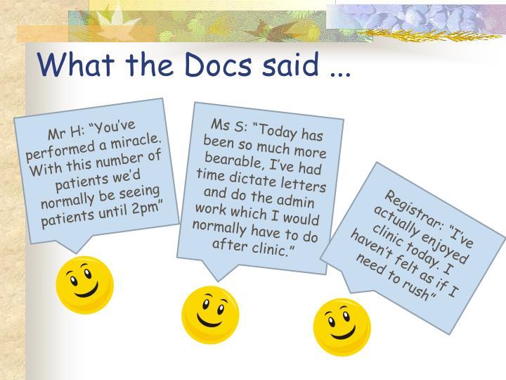 What the Docs said ...