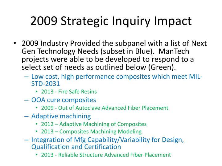 2009 Strategic Inquiry Impact