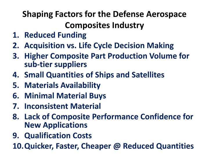 Shaping Factors for the Defense Aerospace Composites Industry