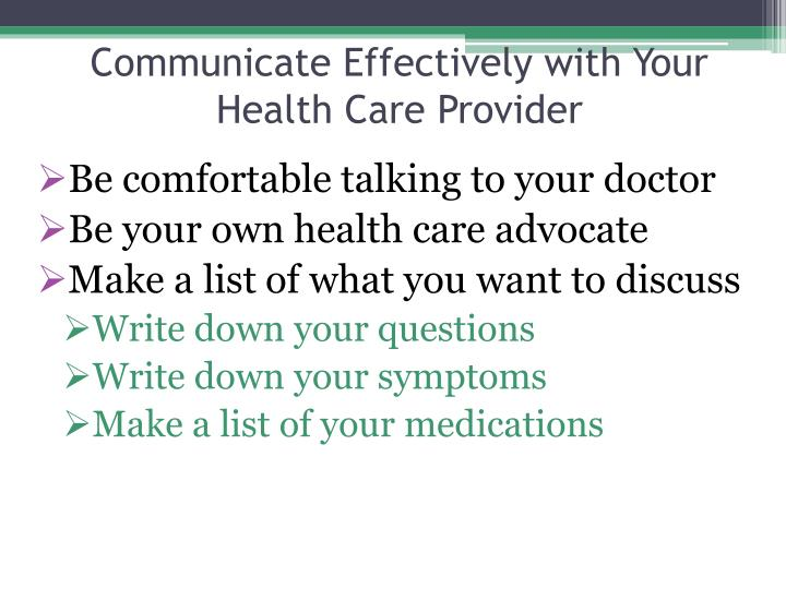 Communicate Effectively with Your Health Care Provider