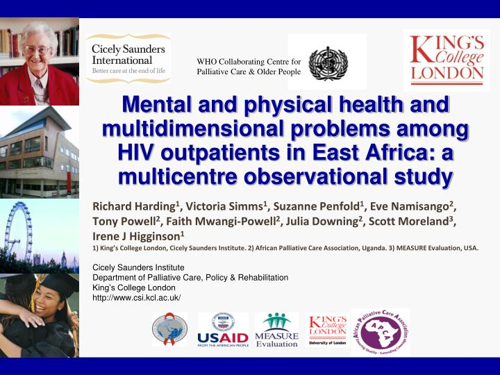 Mental and physical health and multidimensional problems among