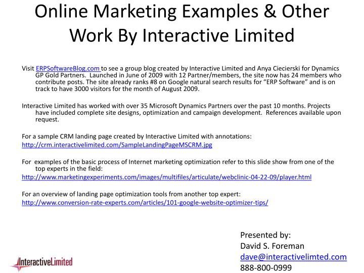 Online Marketing Examples & Other Work By Interactive Limited