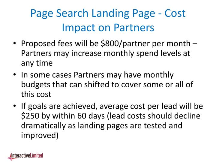 Page Search Landing Page - Cost Impact on Partners