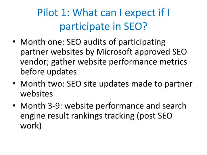 Pilot 1: What can I expect if I participate in SEO?