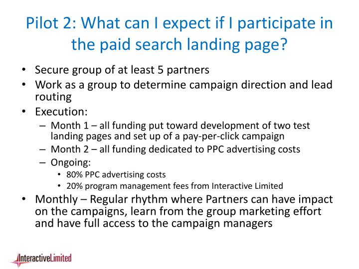 Pilot 2: What can I expect if I participate in the paid search landing page?