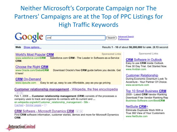 Neither Microsoft's Corporate Campaign nor The Partners' Campaigns are at the Top of PPC Listings for High Traffic Keywords