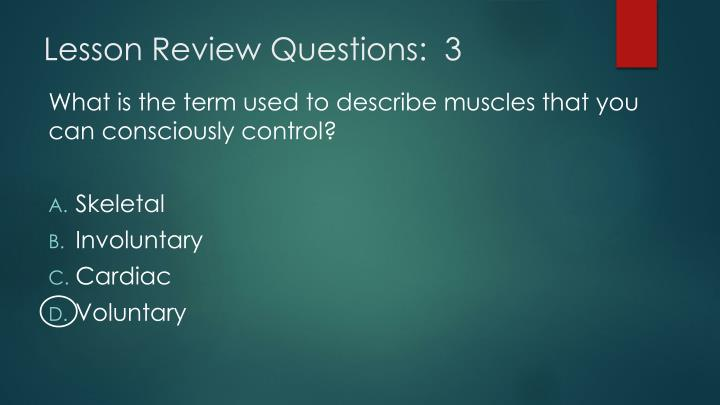 Lesson Review Questions:  3