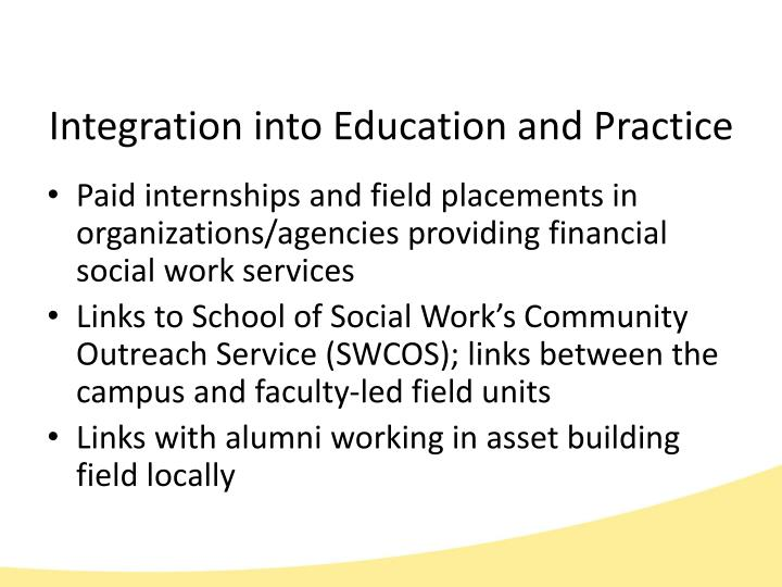 Integration into Education and Practice
