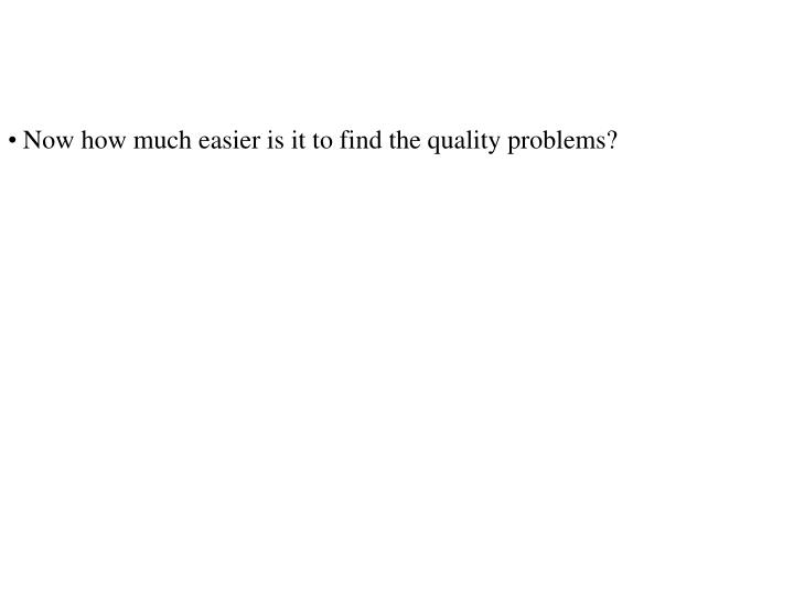 Now how much easier is it to find the quality problems?