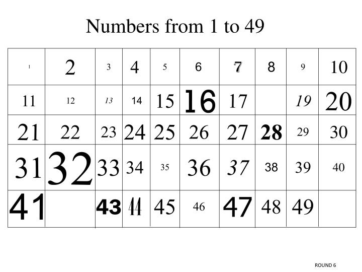 Numbers from 1 to 49