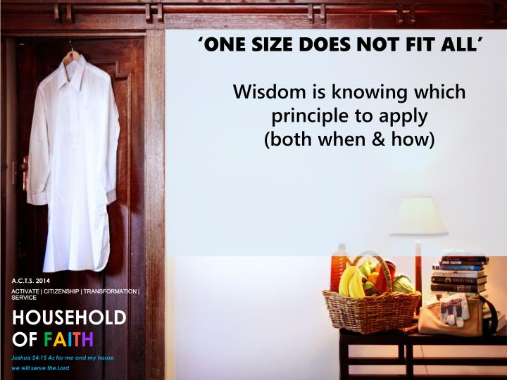 'ONE SIZE DOES NOT FIT ALL'
