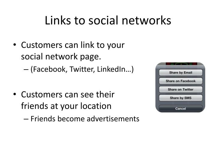 Links to social networks