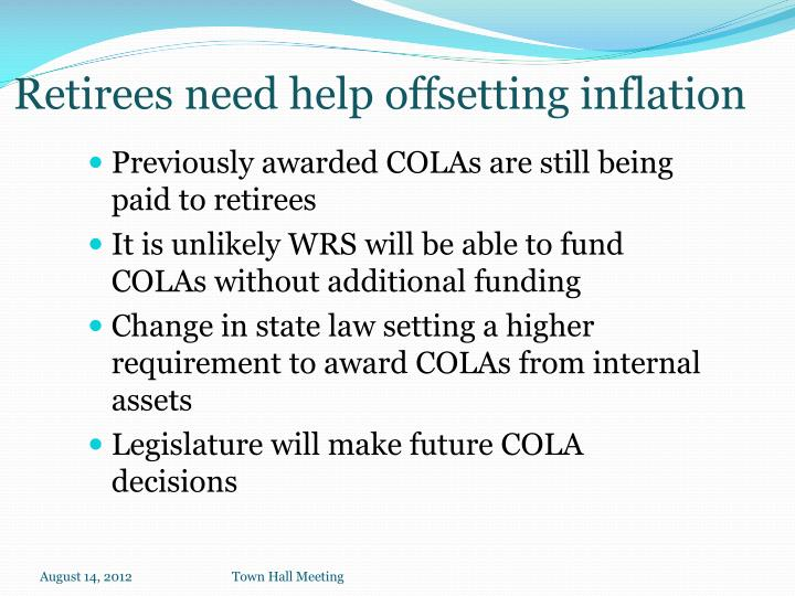 Previously awarded COLAs are still being paid to retirees