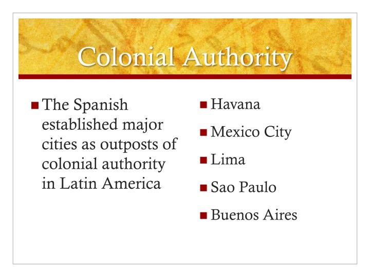 Colonial Authority