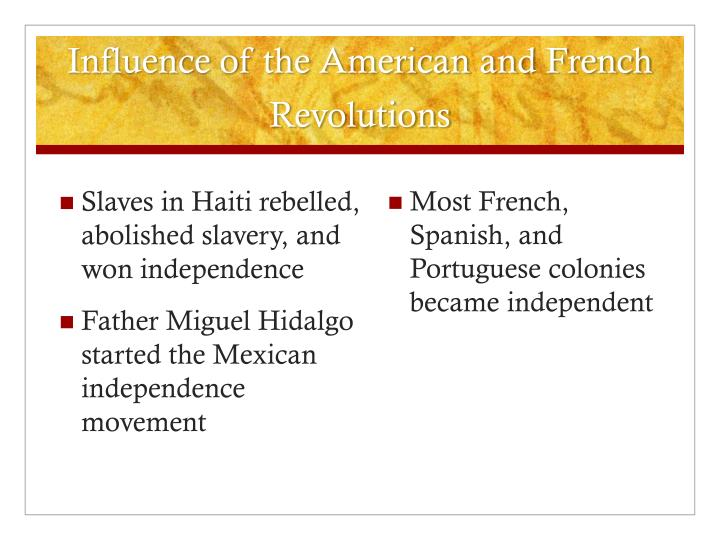 Influence of the American and French Revolutions
