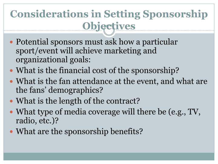 Considerations in Setting Sponsorship Objectives