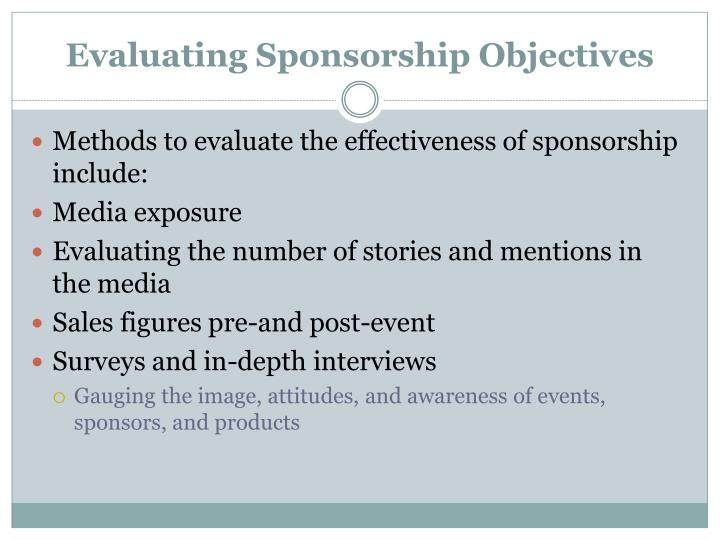 Evaluating Sponsorship Objectives