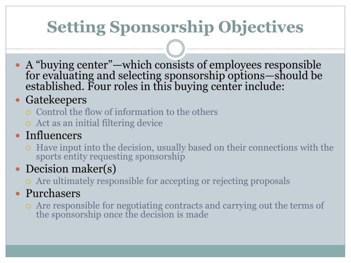 Setting Sponsorship Objectives
