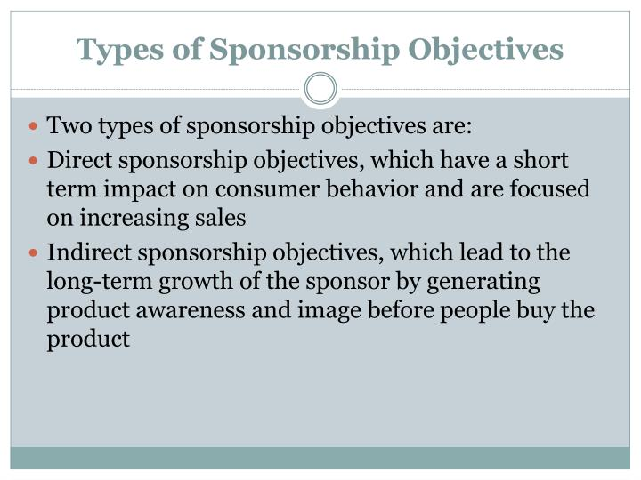Types of sponsorship objectives