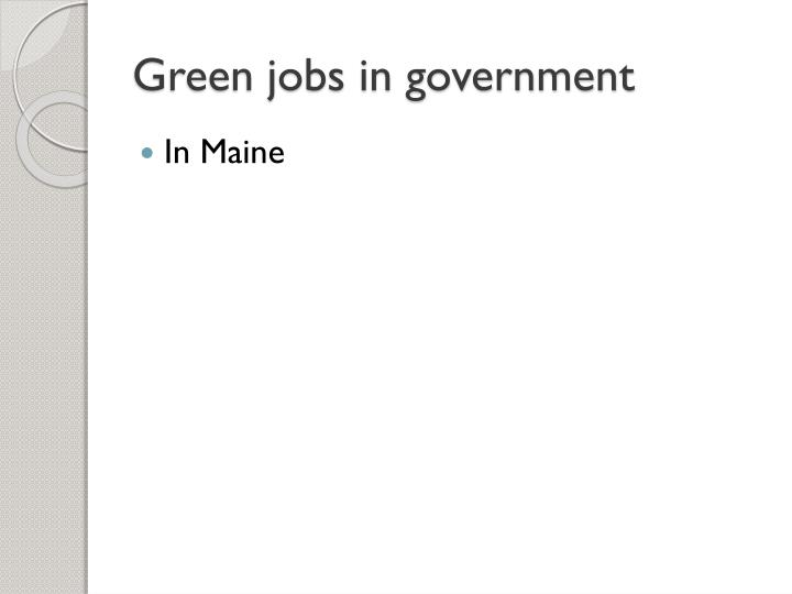 Green jobs in government