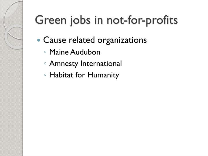 Green jobs in not-for-profits