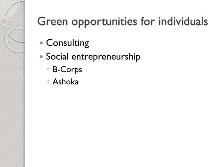 Green opportunities for individuals