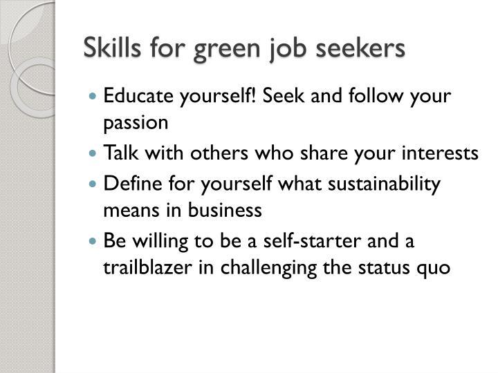 Skills for green job seekers