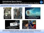 international space station research and technology applications demo testbed