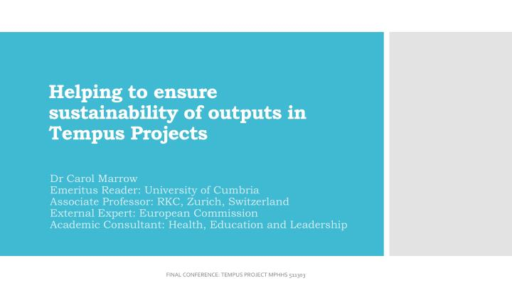 helping to ensure sustainability of outputs in tempus projects