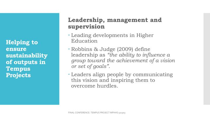 Leadership, management and supervision