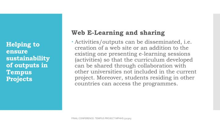 Web E-Learning and sharing