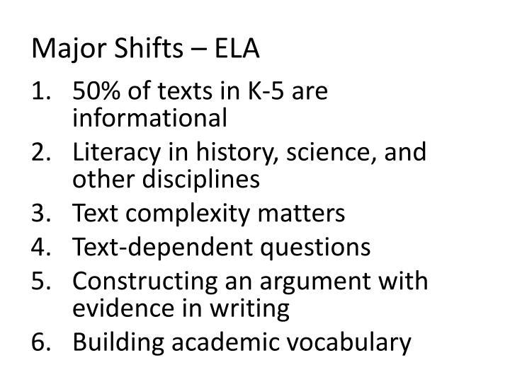 Major Shifts – ELA