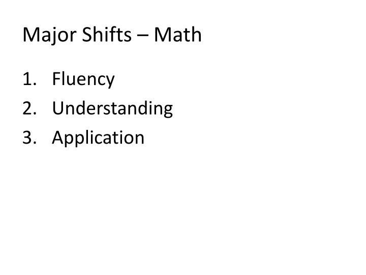 Major Shifts – Math