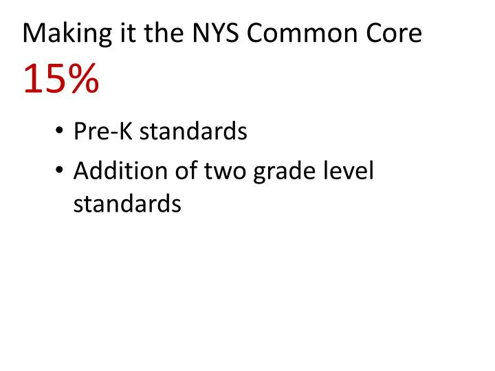 Making it the NYS Common Core