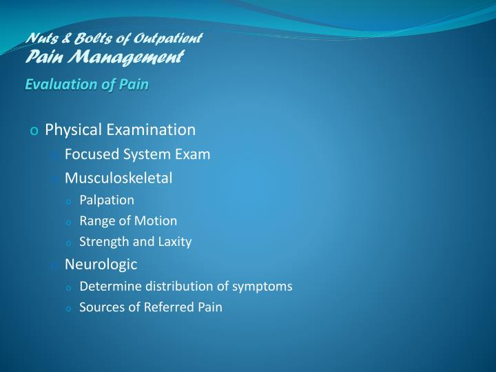 Nuts & Bolts of Outpatient