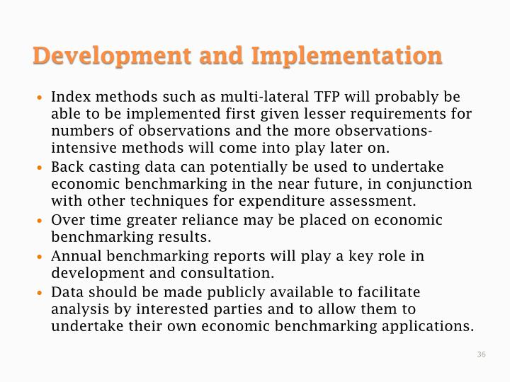 Index methods such as multi-lateral TFP will probably be able to be implemented first given lesser requirements for numbers of observations and the more observations-intensive methods will come into play later on.