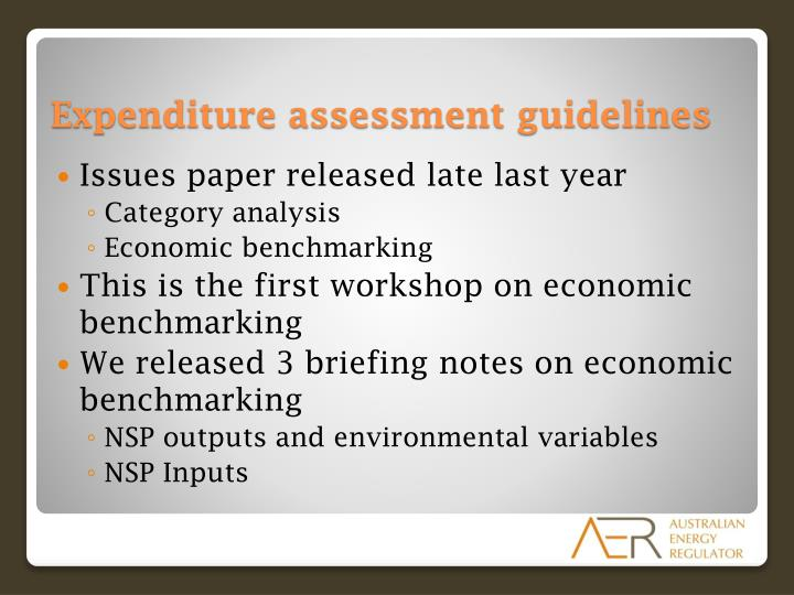 Expenditure assessment guidelines