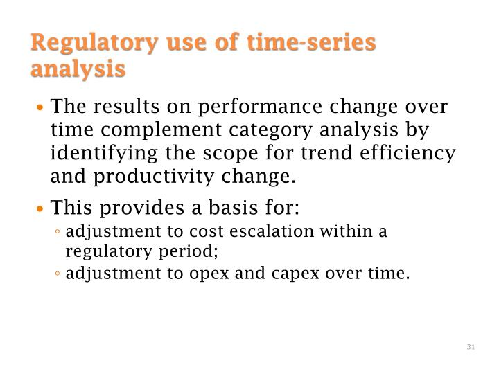 The results on performance change over time complement category analysis by identifying the scope for trend efficiency and productivity change.