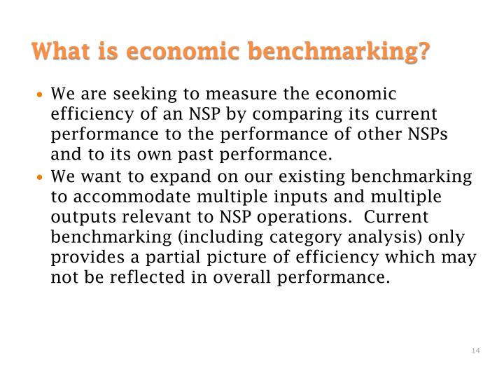 We are seeking to measure the economic efficiency of an NSP by comparing its current performance to the performance of other NSPs and to its own past performance.