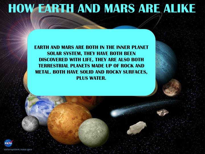 HOW EARTH AND MARS ARE ALIKE