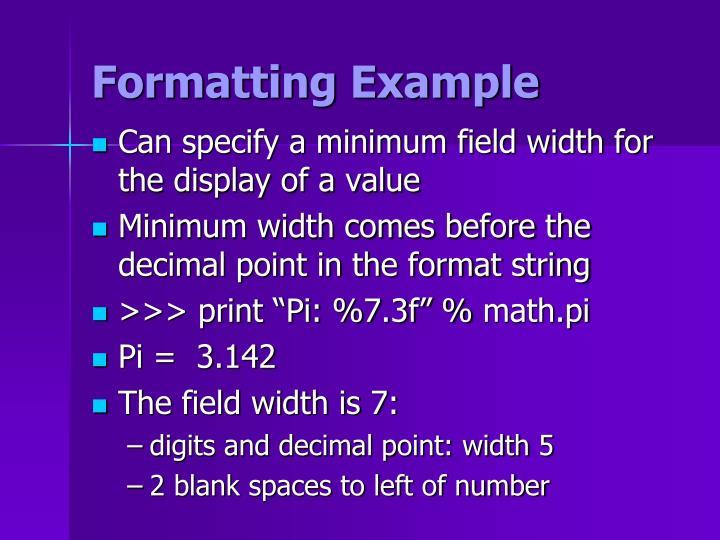 Formatting Example