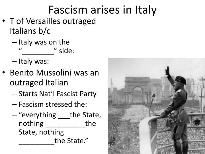 Fascism arises in Italy